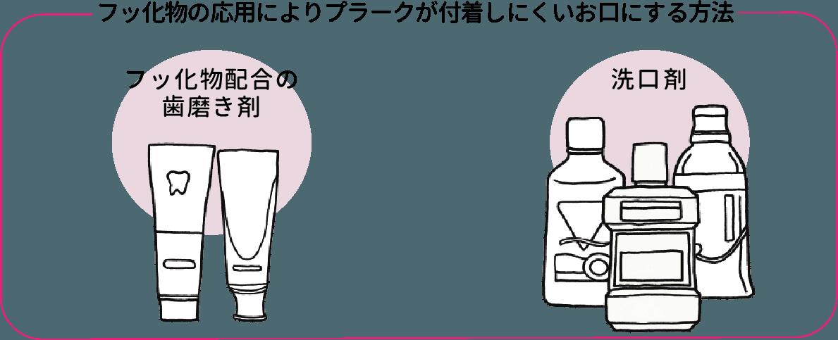 歯ブラシや歯間ブラシでプラークを除去、フッ化剤入りの歯磨き剤や洗口剤を利用してプラークコントロール